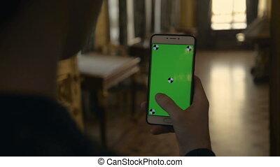 ekran, flips, telefon, zielony, przez, utrzymywać, muzeum, ...