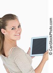 ekran, kobieta, pokaz, tabliczka