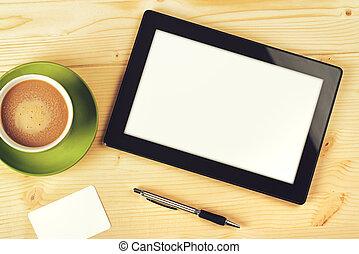 ekran, komputer, biały, tabliczka, czysty