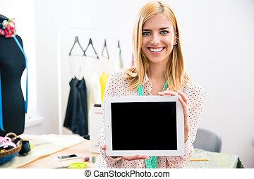 ekran, komputer, pokaz, dziewczyna, tabliczka