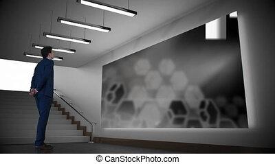 ekran, korytarz, człowiek, gapiowski