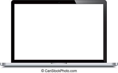 ekran, laptop, otwarty, białe tło