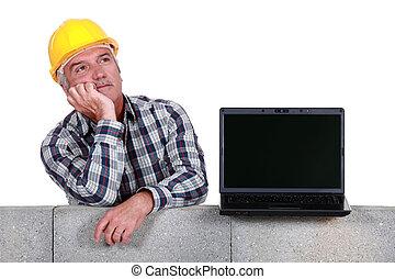 ekran, laptop, pokaz, budowniczy, czysty