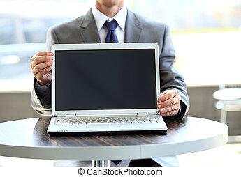 ekran, laptop, użyteczny, skład, czysty