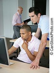 ekran, mężczyźni, dwa, młode przeglądnięcie, komputer