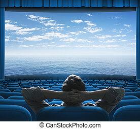 ekran, ocean, albo, morze, kino