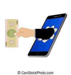 ekran, otwór, ręka, banknot