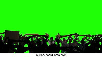 ekran, płatowaty, zielony, tłum