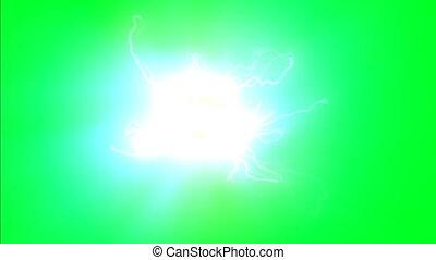 ekran, przędzenie, jądro, atom, zielony, elektrony