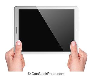 ekran, ręka, tabliczka, czysty