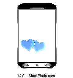 ekran, smartphone, nowoczesny, czysty
