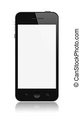ekran, smartphone, nowoczesny, odizolowany, czysty