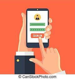 ekran, smartphone, strona, znak