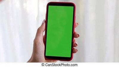 ekran, smartphone, zielony, samicza ręka