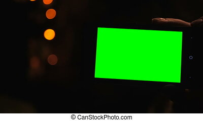 ekran, smartphone, zielony
