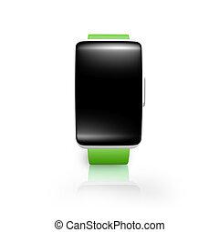 ekran, smartwatch, łukowaty, szkło, jasny, zielony, czysty, czarnoskóry, wat