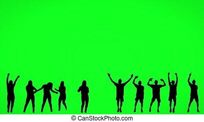 ekran, sylwetka, ludzie, taniec, zielony
