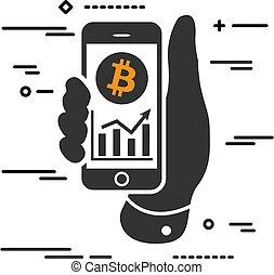 ekran, telefon, bitcoin, wykres, korzyść, cryptocurrency