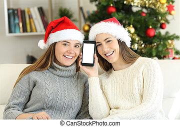 ekran, telefon, pokaz, przyjaciele, boże narodzenie
