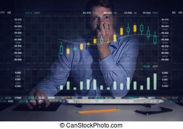 ekran, wykresy, komputer, analizując, biznesmen, dane, targ, pień
