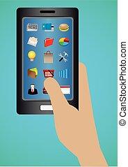 ekran, zastosowania, ikony sieći, telefon, software, mądry, dotyk