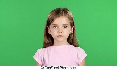 ekran, zielony, aparat fotograficzny., dziecko, uśmiech, ...
