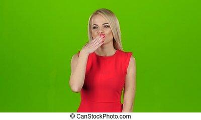 ekran, zielony, kisses., blondynka, daje, strój, czerwony,...