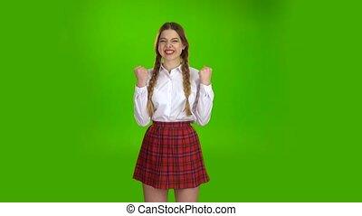 ekran, zielony, zwycięstwo, student, szczęśliwy