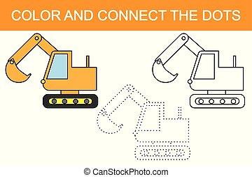 ekskawator, cartoon., oświatowy, gra, dla, children., kolor, i, połączyć, przedimek określony przed rzeczownikami, dots.