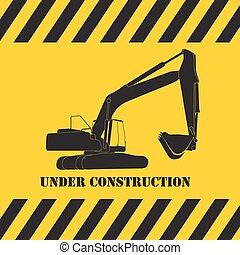 ekskawator, praca, ilustracja, wektor, pod, construction.