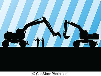 ekskawator, traktory, szczegółowy, sylwetka, ilustracja, w,...