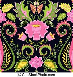 eksotiske blomster, tapet, udsmykket