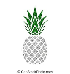eksotiske, konstruktion, silhuet, healthy., isoleret, tropisk, baggrund., hvid, logo., natur, symbol, leaf., mad, illustration, frugt, sølv, organisk, element, vektor, grønne, ananas, vitamin, icon., sommer