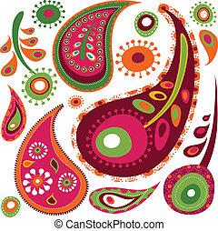 eksotiske, mønster, paisley