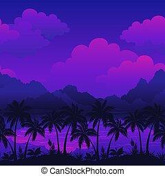 eksotiske, seamless, landskab