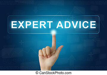 ekspert, porada, ręka, tłoczyć, guzik, dotknijcie osłaniają