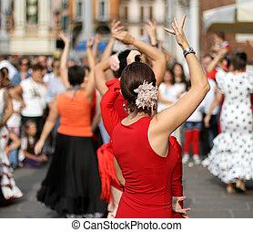 ekspert, taniec, tancerze, okres, kostiumy, hiszpański, flamenco