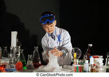 eksperyment, mały, naukowiec, wizerunek, oglądając