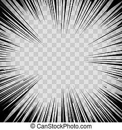 eksplosion, glimt, linjer, baggrund., bog, radial, komisk, ...