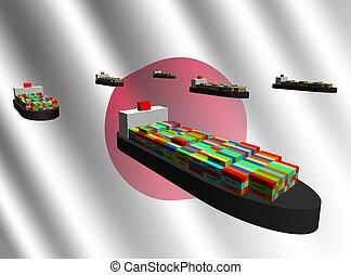 eksporter, beholder, japansk, skibe
