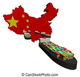 eksporter, beholder, kinesisk, skibe
