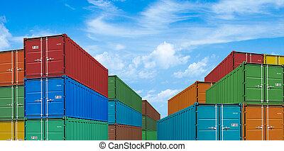 eksporter, eller, import, forsendelse, last beholdere, stacks, ind, havn, under