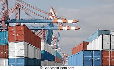 eksporter, import, last beholdere, ind, havn