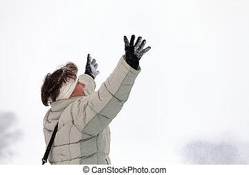 ekstatisch, frau, in, winter