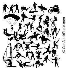 ekstremt sport, silhuetter