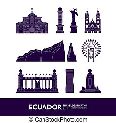 ekuador, illustration., bestimmungsort, reise, vektor, großartig
