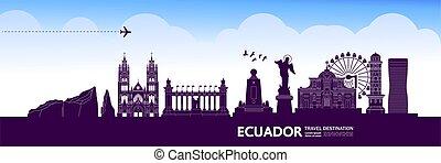 ekuador, illustration., bestimmungsort, reise, vektor,...