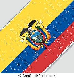ekwadorski, wektor, grunge, illustration., flag.