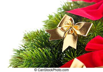 elágazik, közül, karácsonyfa, noha, szalag