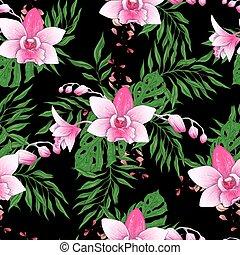 elágazik, motívum, seamless, kéz, stilizált, vektor, black háttér, húzott, tervezés, -e, orhidea